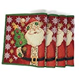 Tache Home Fashion Set of 4 Festive Tapestry Santa Claus is Coming to Town Placemats (Color: Multi-Color, Tamaño: 13x19)