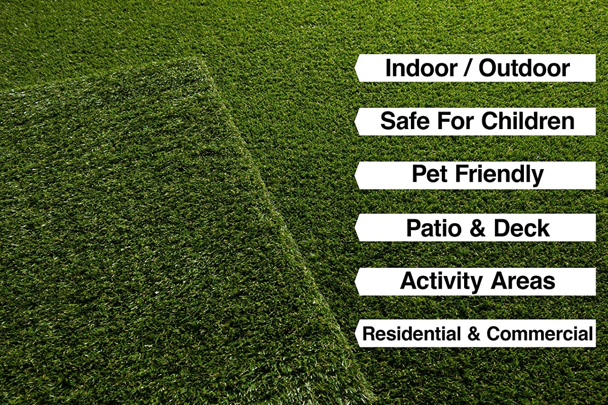 "Super Lawn Artificial Grass Rug Indoor / Outdoor Carpet Synthetic Turf Fade Resistant Easy Care 53""x73"""