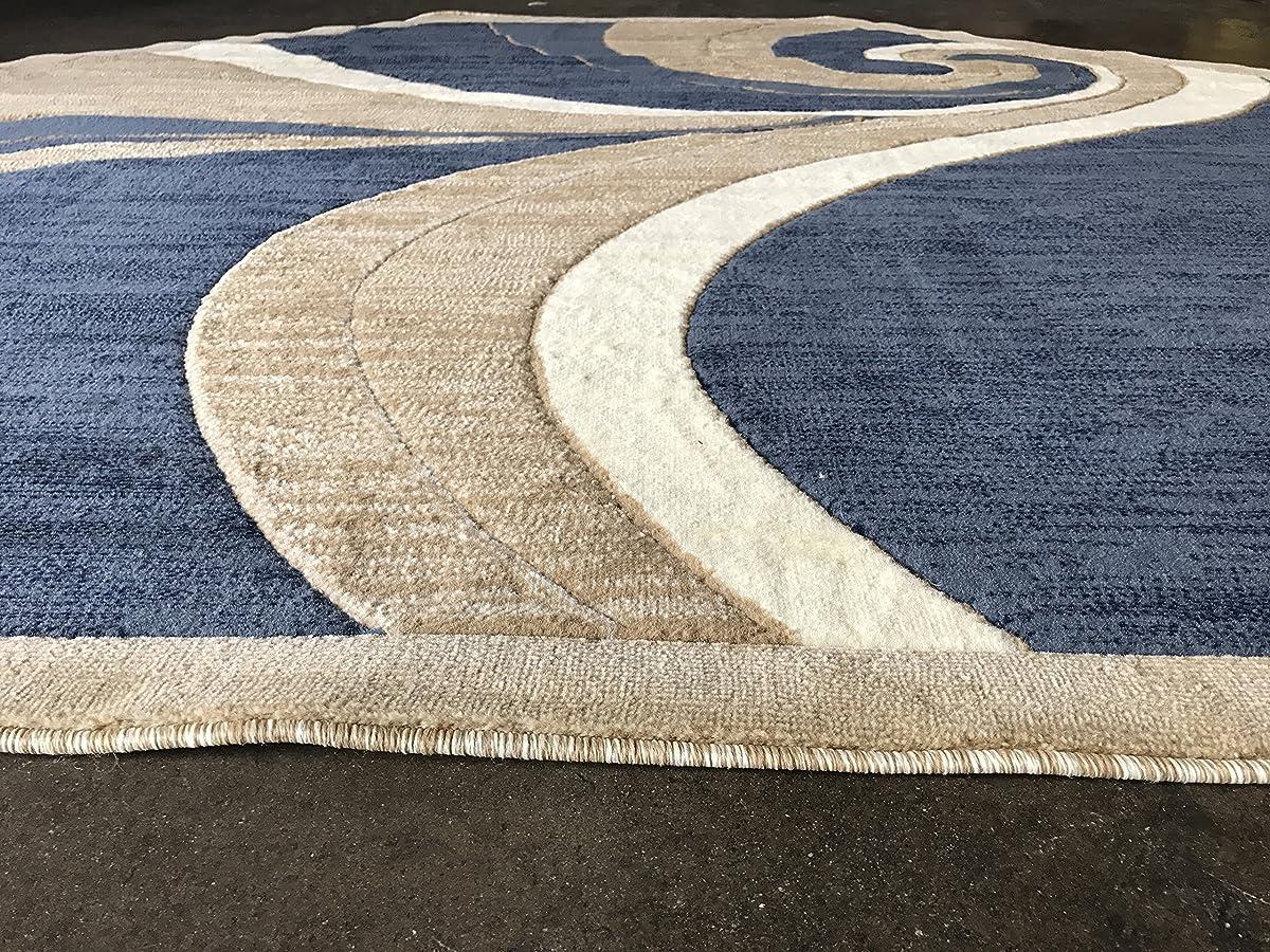Modern Octagon Area Rug Blue Beige Swirl Americana Design