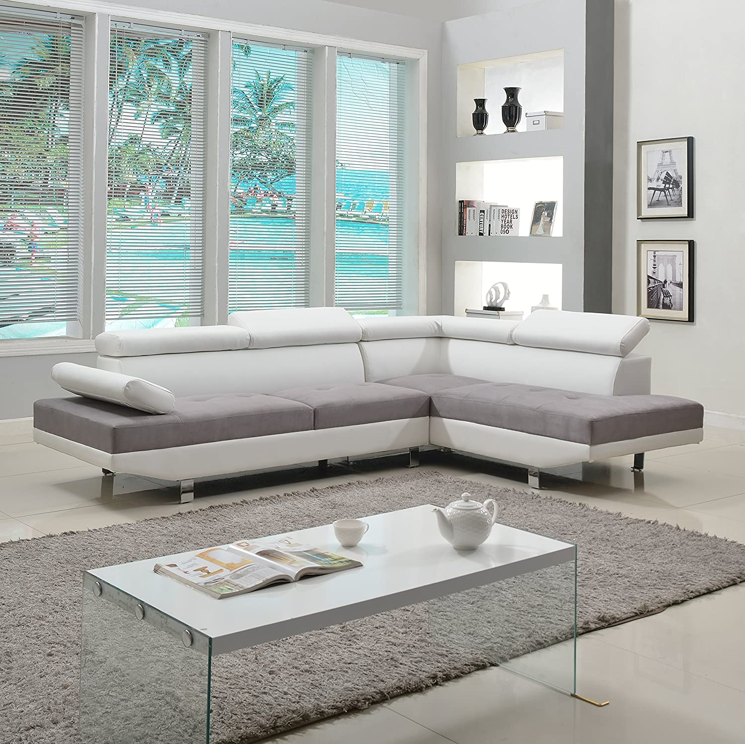 Modern Contemporary Designed Two Tone Microfiber and Bonded Leather Sectional Sofa (White/Grey)