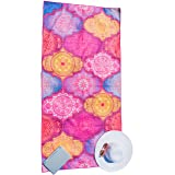 Microfiber Beach Towel - Quick Dry, Sand Free, Travel Beach Towel in Designer Boho Beach Towel Print for Beach, Travel, Cruise, Outdoor (Boho Summer, X-Large) (Color: Boho Summer, Tamaño: X-Large)