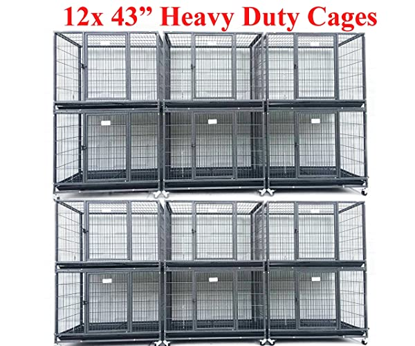 Homey Pet 43 Stackable or Non-Stackable Heavy Duty Cage W/Feeding Door, Casters and Tray (12x Folding Cage) (Color: black)