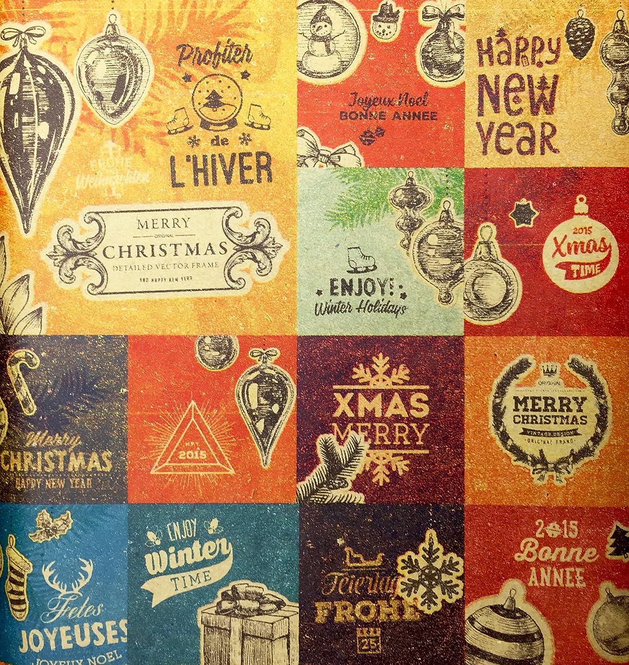 Retro Prints CHRISTMAS KRAFT WRAPPING PAPER (30 inches x 15 feet) 1
