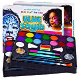 Face Paint Kit for Kids - Jumbo Stencils, 16 Large Paints, Rainbow Cake, 168 Gems, 2 Hair Chalk Pens 3 Professional Brushes 2 Glitter Quality Body Painting Set Halloween Makeup Skin Safe (2 Pack) (Color: 2 Pack)