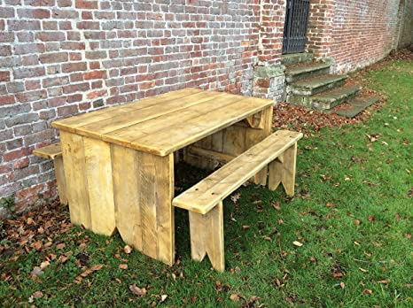 Rustic wooden Dining / Garden Set 5 foot Table and Benches heavy quality more sizes available