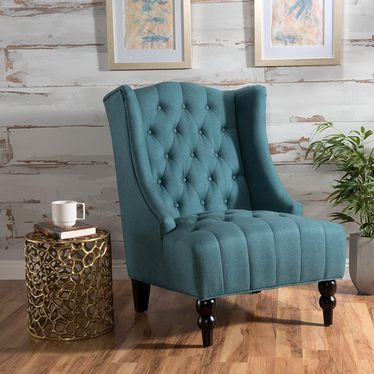 Clarice   Tall Wingback Fabric Accent Chair   Perfect For Living Room   Dark Teal