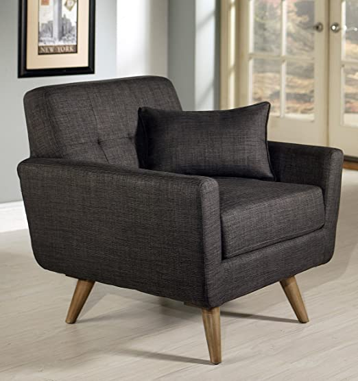 Abbyson Living Boise Gray Tufted Fabric Armchair