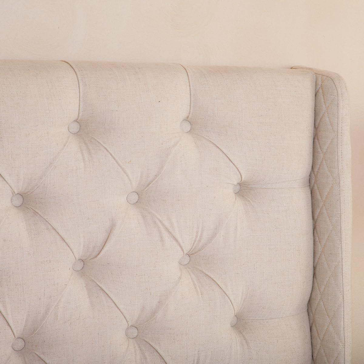 Great Deal Furniture Allen Wingback Queen/Full Tufted Eggshell Fabric Headboard