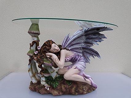 Maxi-Statuina a forma fata, vassoio in vetro ovale, tavolo basso