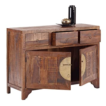 CHINA 8278 Kommode mit 3 Schubladen, 2 Turen, Holz, forest, 42 x 120 x 85 cm