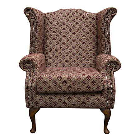 Armchair in a Regalo Red and chocolate Brown Diamond fabric