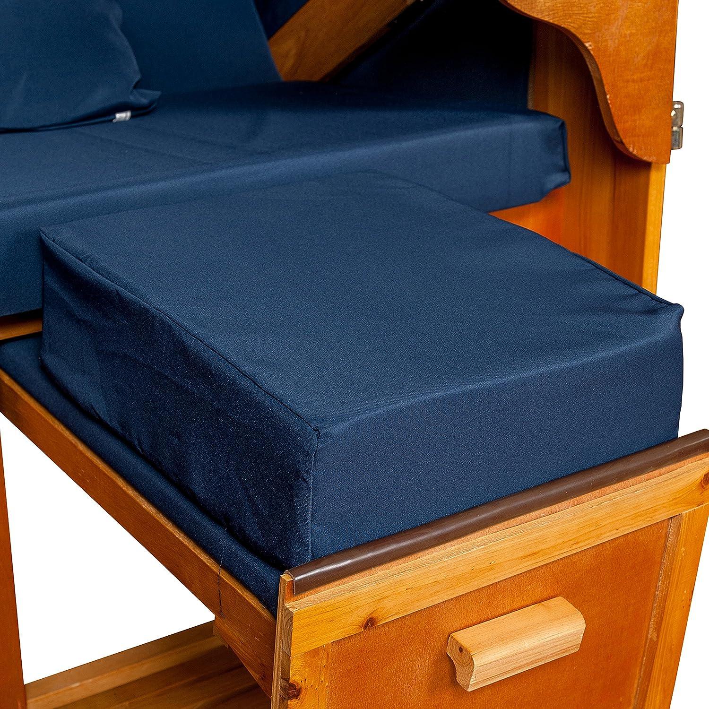 Strandkorb Auflagekissen-Set für Fussablage, blau, 2er Set, LILIMO ®
