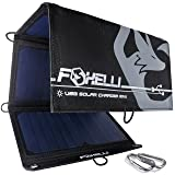 Foxelli Dual USB Solar Charger 21W - Foldable Solar Panel Phone Charger for iPhone X, 8, 7, 6s, iPad & Android, Galaxy S8, S7, S6, S5, Edge & More, Portable Solar Power Charger for Camping & Outdoors