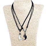Yin Yang Pendant Couple Set on Adjustable Black Rope Cord Necklaces (Color: Black & White, Tamaño: Adjustable)
