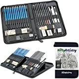 Drawing and Sketching Pencil Set in Zippered Carrying Case - The Essential Artist Supplies in a Compact, Protective, and Travel-Friendly 40-Piece Kit with Eraser, Pastels, Graphite and Charcoal Sticks (Color: Grey)