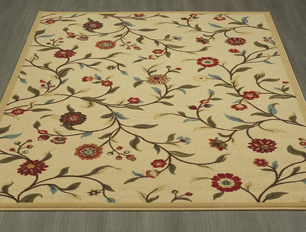 "Ottomanson Otto Home Floral Garden Design Modern Area Rug with Non-SkidRubber Backing, 60"" L x 78"" W, Beige"