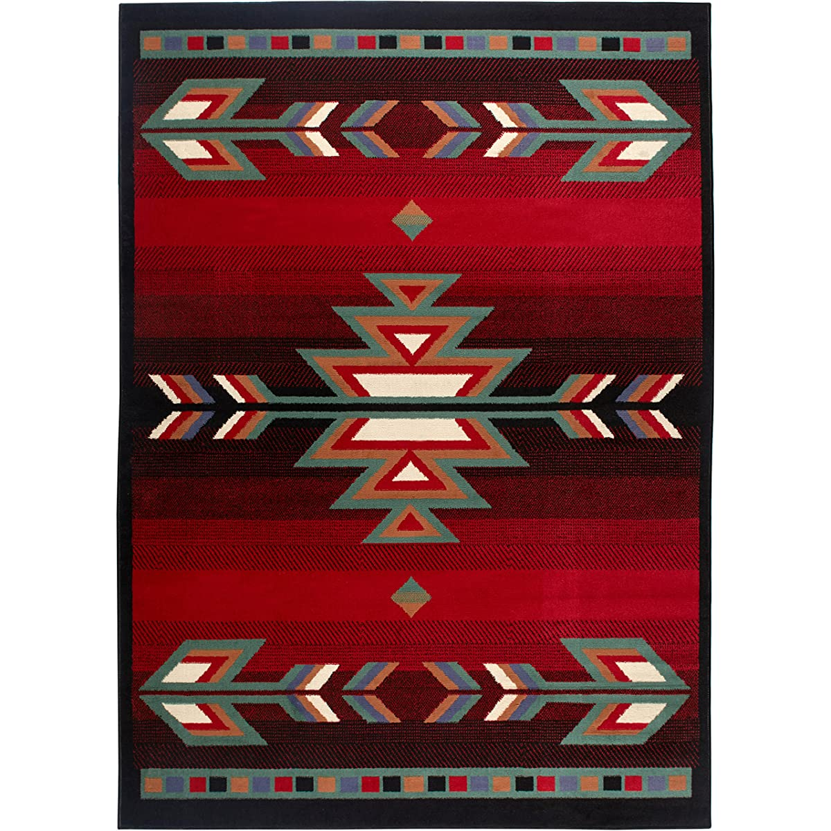 "Home Dynamix Premium Sagrada Area Rug by Modern Southwestern Style Living Room Rug | Bold Aztec Print | Black, Red, Multicolor Pattern 52"" x 74"""