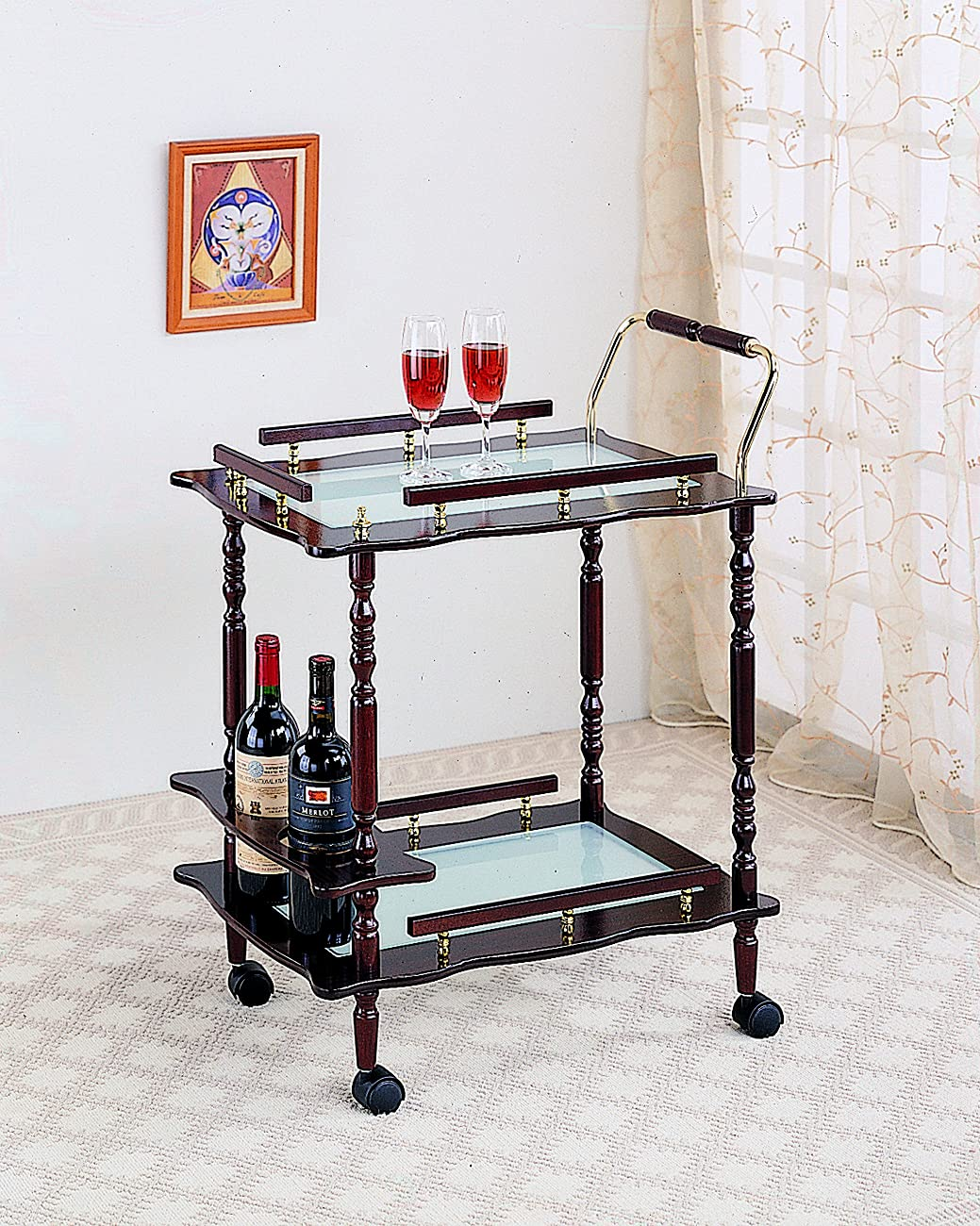Coaster Home Furnishings 910010 Traditional Serving Cart, Cherry 0