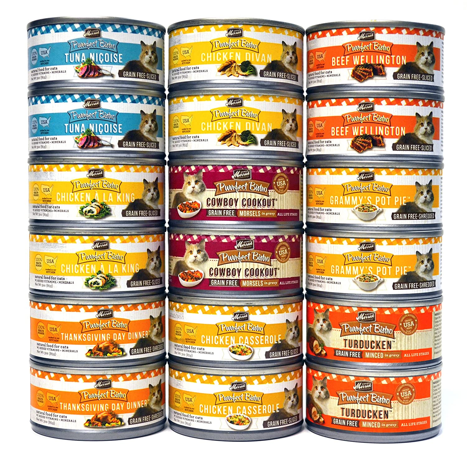 Merrick Purrfect Bistro Canned Cat Food Variety Pack - 9 Flavors (Chicken Divan, Beef Wellington, Thanksgiving Day Dinner, Grammy's Pot Pie, Chicken A La King, Cowboy Cookout, Turducken, Tuna Nicoise, & Chicken Casserole) - 3 Ounces Each (18 Total Cans - casserole set