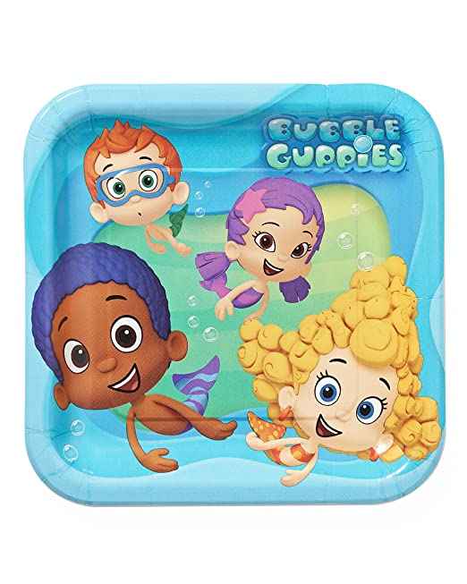"""American Greetings Bubbly-rrific Bubble Guppies Square Birthday Party Paper Plates Disposable Tableware and Dishware, 9"""", Pack of 8."""