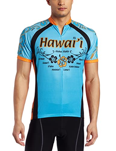 blue hawaii cycling jersey with hibiscus flowers