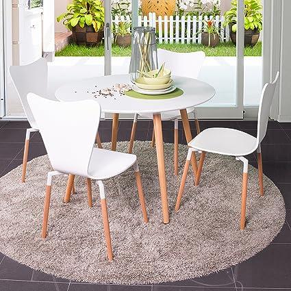 Homely - Conjunto de mesa redonda de cocina ECLECTIC con 4 sillas tipo Jacobsen