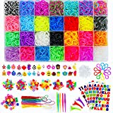Momo's Den 11910+ Rainbow Rubber Bands Refill Kit, 11000 Loom Bands, 200 Beads, 600 S-Clips, 60 ABC Beads, 30 Charms, 10 Backpack Hooks, 5 Tassels, 3 Hair Clips, 5 Crochet Hooks, ABC Stickers