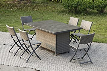 AVANTI TRENDSTORE - Rattanset inkl. Tisch und 6 Klappstuhle, ca. 150x75x100 cm