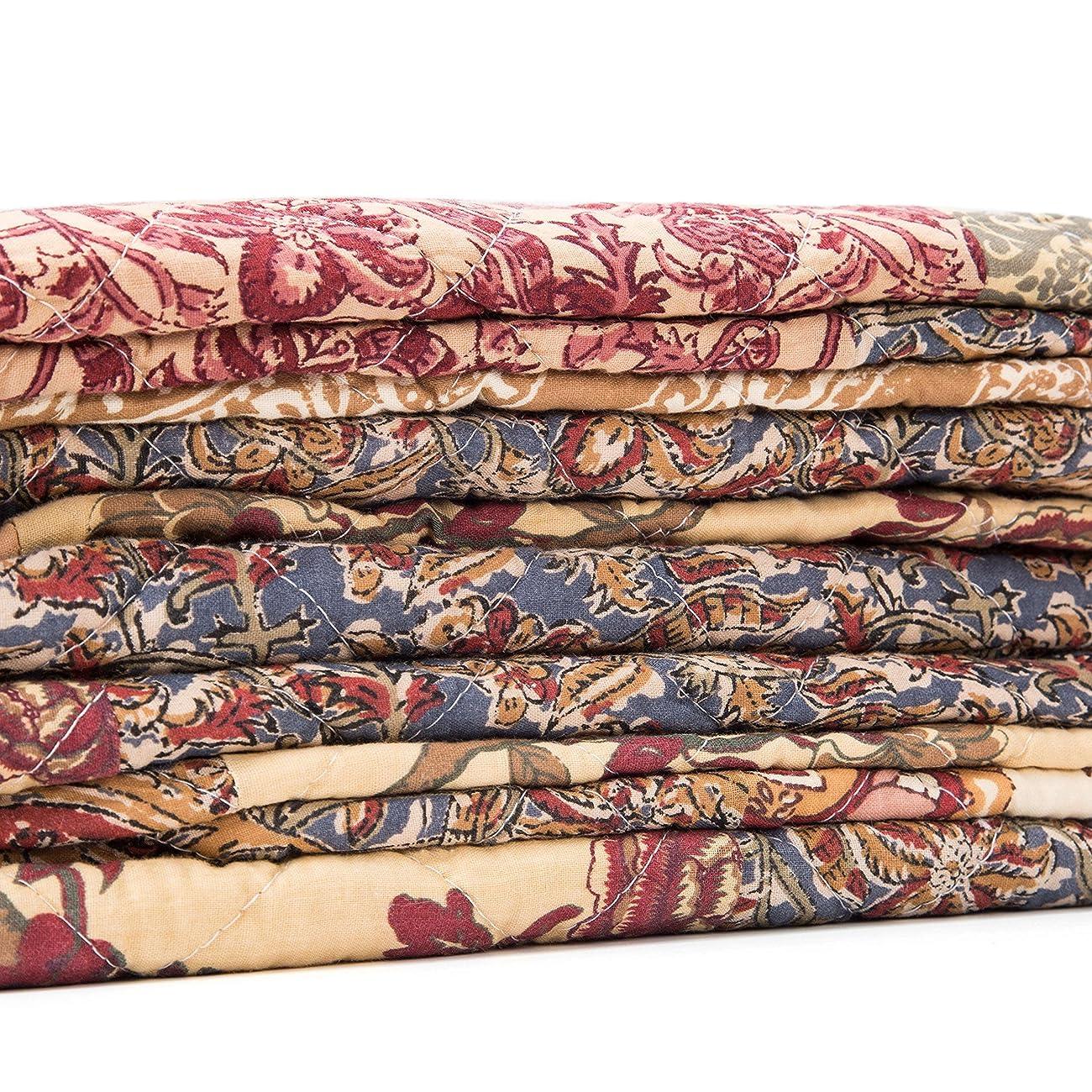 Luxury Retro Floral Stitching Cotton Patchwork Bedspread Sets Quilt Queen Size 4