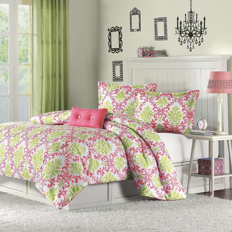 Jojo luxury black white damask girl kids teen full queen sized bedding - Mizone Katelyn 4 Piece Comforter Set Full Queen Coral
