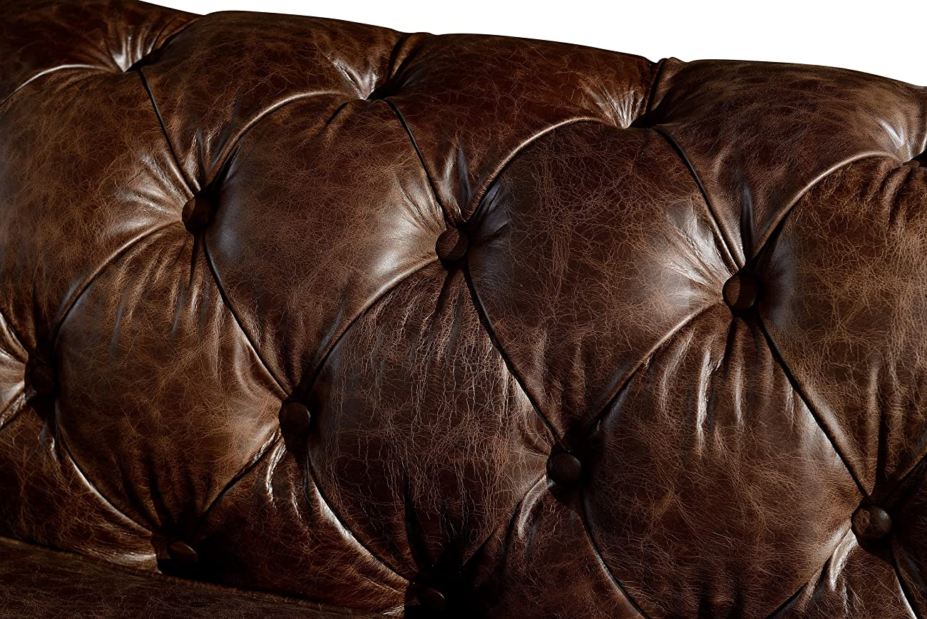 Crafters and Weavers Top Grain Vintage Leather Chesterfield Sofa 2