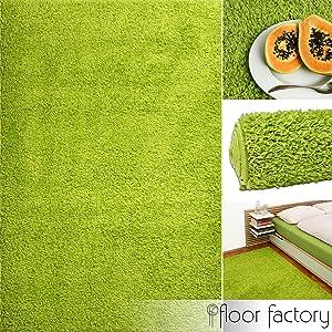 Alfombra moderna de descuento Basic verde 10x10cm muestra - alfombra shaggy al precio súper económico   revisión y más información