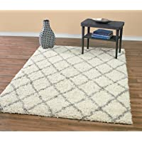 Diagona Designs Contemporary Beni Ourain Inspired Trellis Design Modern Shaggy Area Rug