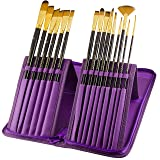 Paint Brushes - 15 Pc Brush Set for Watercolor, Acrylic, Oil & Face Painting | Long Handle Artist Paintbrushes with Travel Holder (Royal Purple) & Gift Box | Art Supplies by MyArtscape (Color: Royal Purple)