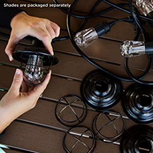 Enbrighten Seasons LED Warm White & Color Changing Café String Lights with Oil-Rubbed Bronze Lens Shade, Black, 48ft, 24 Impact Resistant Lifetime Bulbs, Wireless, Weatherproof, Indoor/Outdoor, 43385 (Color: Black Oil Rubbed Bronze, Tamaño: 48 ft.)