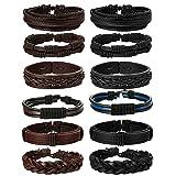 Jstyle 12Pcs Braided Leather Bracelet for Men Women Cuff Wrap Bracelet Adjustable Black and Brown (A:12Pcs) (Color: 12Pcs A)