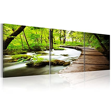 Bilder 150x50 cm! XXL Format ! Fertig Aufgespannt - Top - Leinwand - 3 Teilig - Wand Bild - Kunstdruck - Wandbild - Natur Landschaft Wald grün Baum - 150x50 cm c-B-0021-b-e
