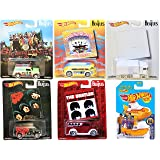 2017 The Beatles Hot Wheels Album Covers Pop Culture Collectibles + Yellow Submarine - The White Album / Rubber Soul / A Hard Days Night / Magical Mystery Tour / Sergeant Peppers (Color: red, yellow)