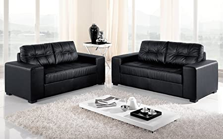 Dafnedesign.com - Divano ufficio 3 posti - cm. 211 x 91 x 89h - Similpelle nero lavabile