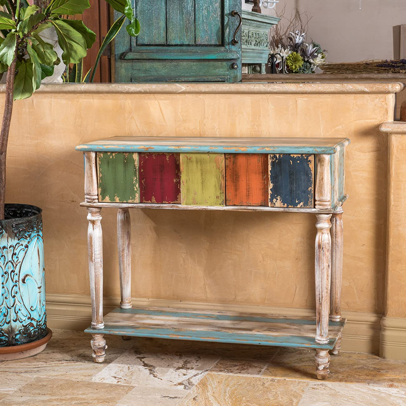 Leo Solid Wood 2 Drawer Console Table in Antique Weathered Multi-Color Style 0
