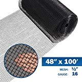 Fencer Wire 16 Gauge Black Vinyl Coated Welded Wire Mesh Size 0.5 inch by 0.5 inch (4 ft. x 100 ft.) (Tamaño: 4 ft. x 100 ft.)