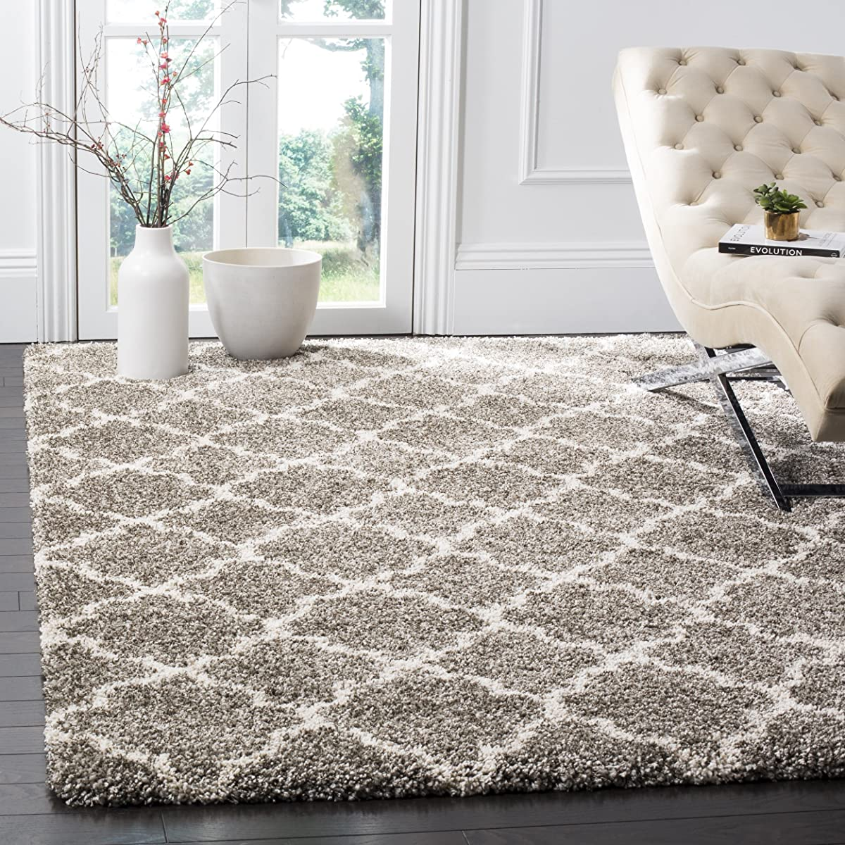 Safavieh Hudson Shag Collection Sgh282b Grey And Ivory