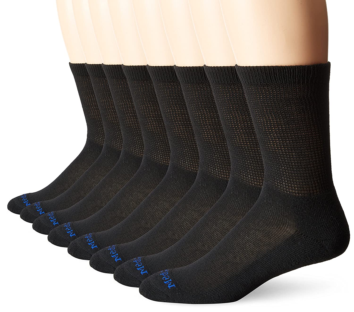 MediPEDS Men's 8 Pack Diabetic Crew Socks with Non-Binding Top, Black, Shoe Size: Men 9-12 / Women 10-13
