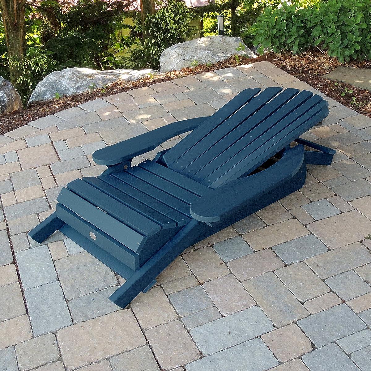 Highwood King Hamilton Folding and Reclining Adirondack Chair, Nantucket Blue