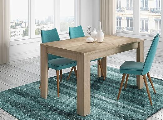 KENDRA Table a manger extensible de 6 a 8 personnes style scandinave mélaminée décor chene - L 140-190 x l 90 cm