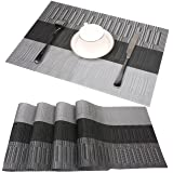 famibay Bamboo PVC Weave Placemats Non-Slip Kitchen Table Mats Set of 4-30x45 cm (Color 6) (Color: Zj-black, Tamaño: Set of 4)