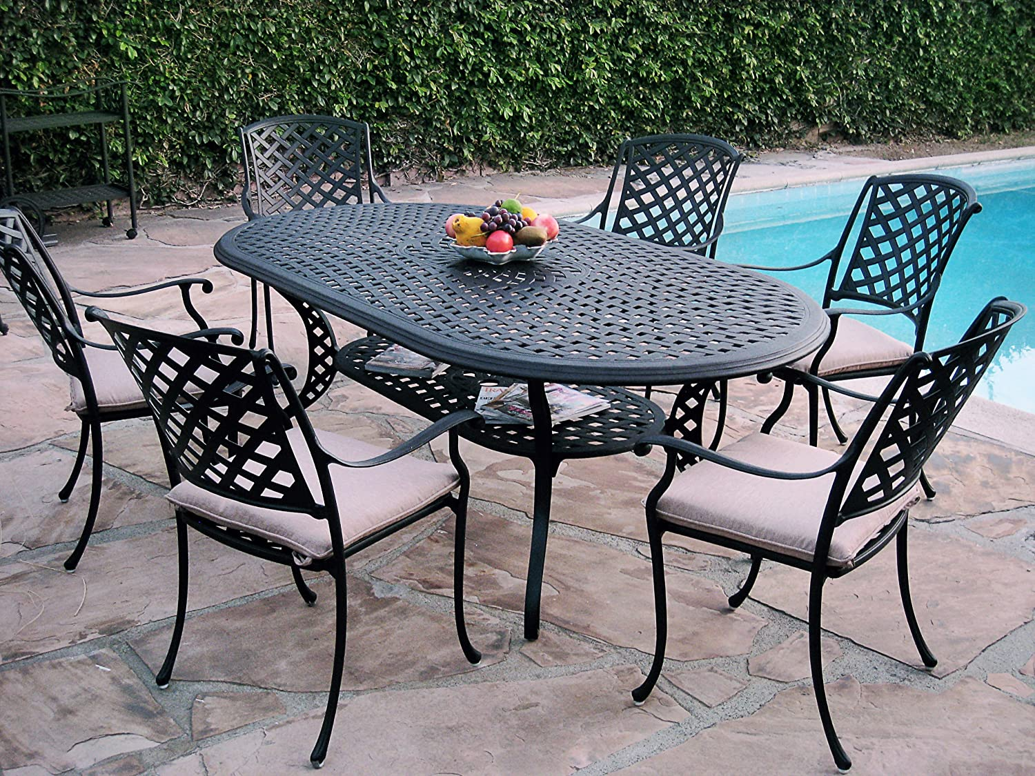 7 Piece Outdoor Patio Furniture Cast Aluminum Dining Set KO with 6 Arm Chairs