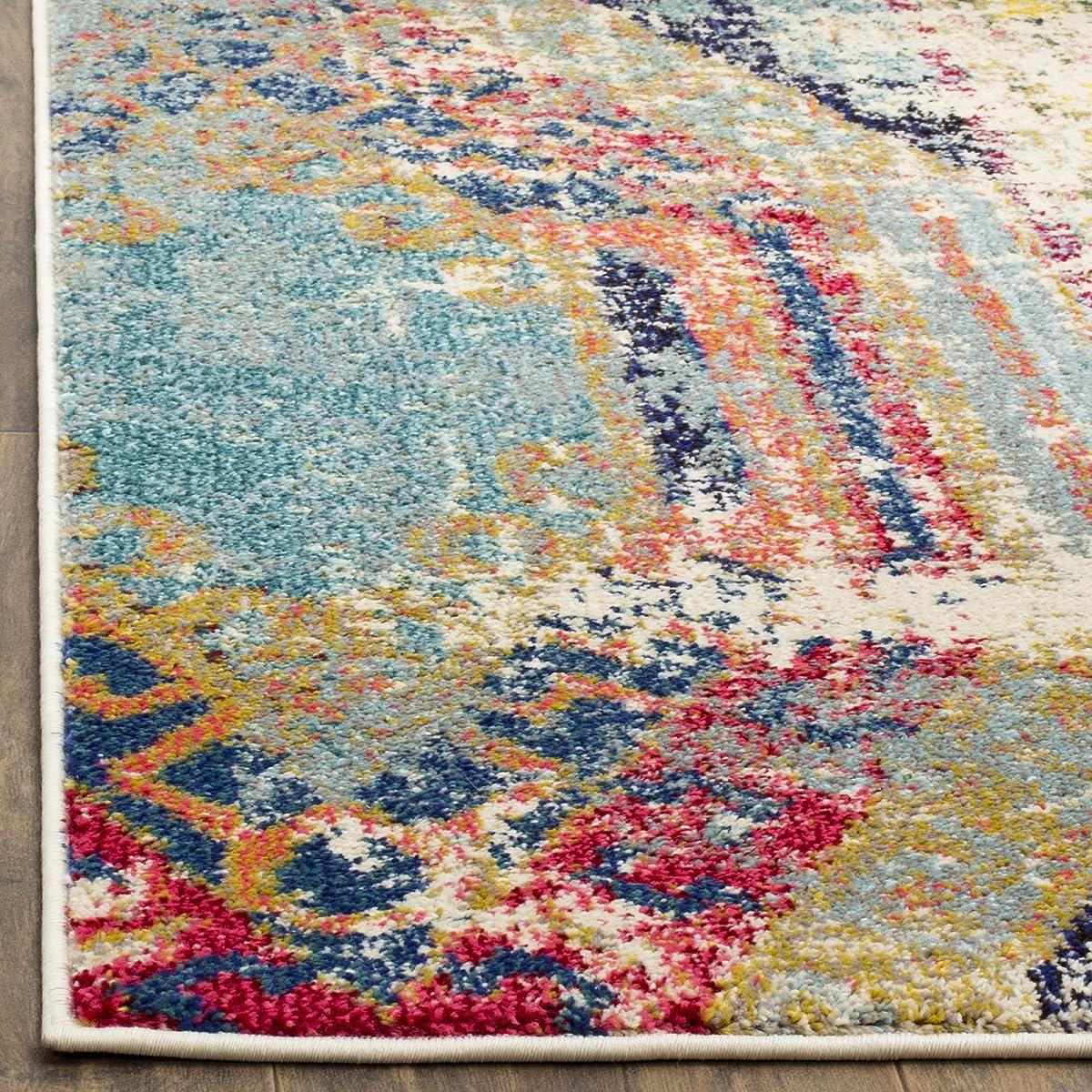 "Safavieh Monaco Collection MNC222F Modern Bohemian Erased Weave Multicolored Area Rug (5'1"" x 7'7"")"