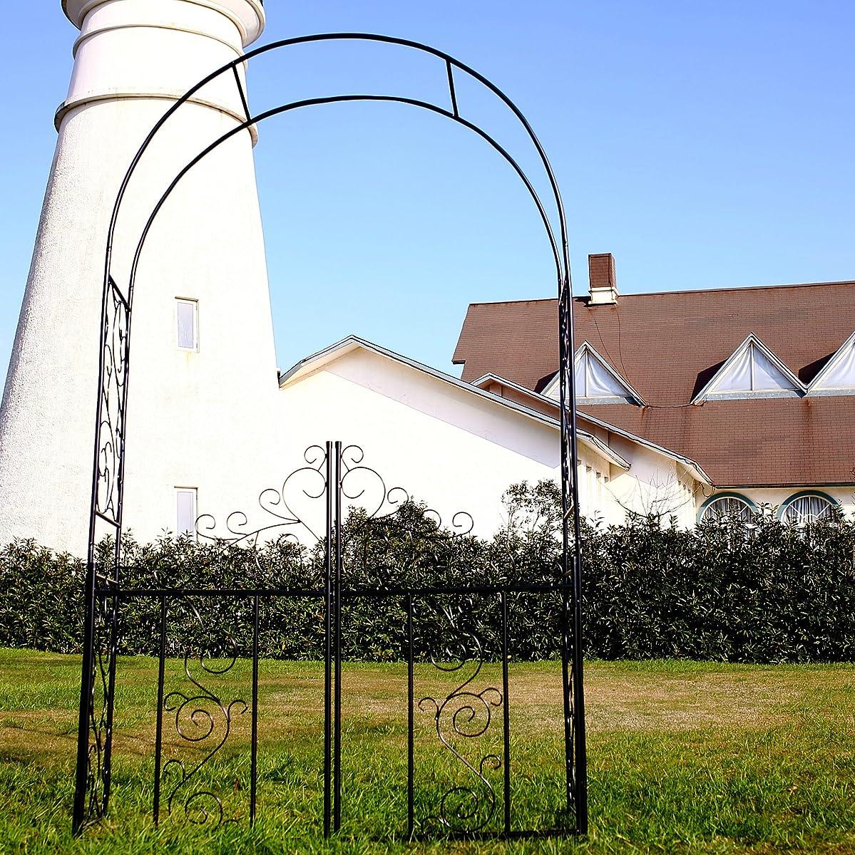 """1.Go Steel Garden Arch with Gate, 75"""" High x 42"""" Wide, Garden Arbor for Various Climbing Plant, Outdoor Garden Lawn Backyard"""