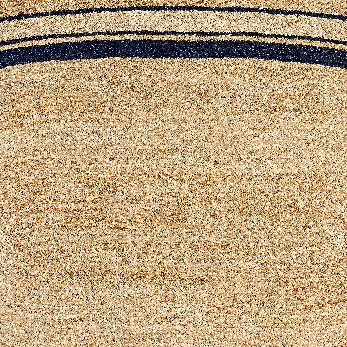 Stone & Beam Contemporary Rikki Border Jute Rug, 6 Round, Denim
